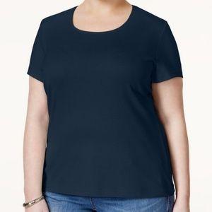 NEW Karen Scott T-Shirt Womens Intrepid Blue